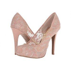J S Parisah Nude Blush Lovely Lace  Platform Heels